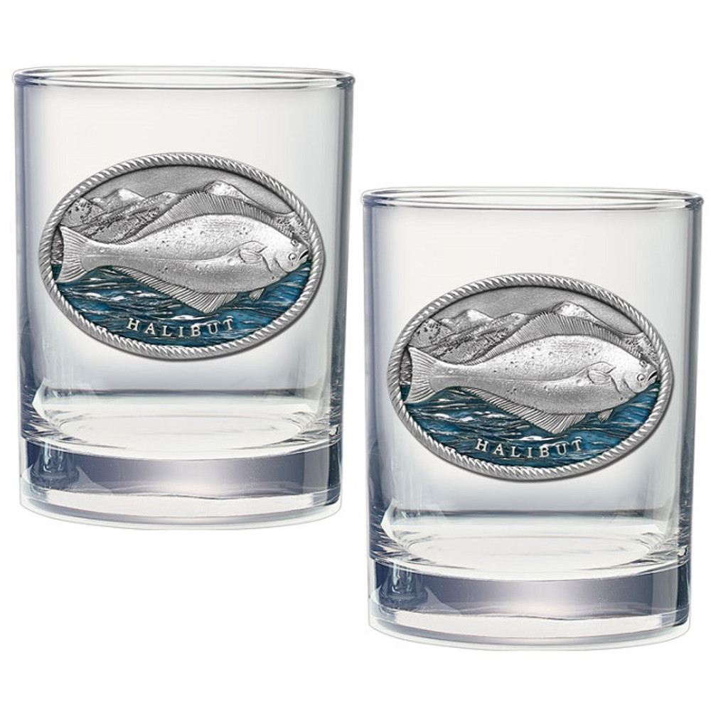 Halibut Double Old Fashioned Glass Set of 2 | Heritage Pewter | HPIDOF4269EB