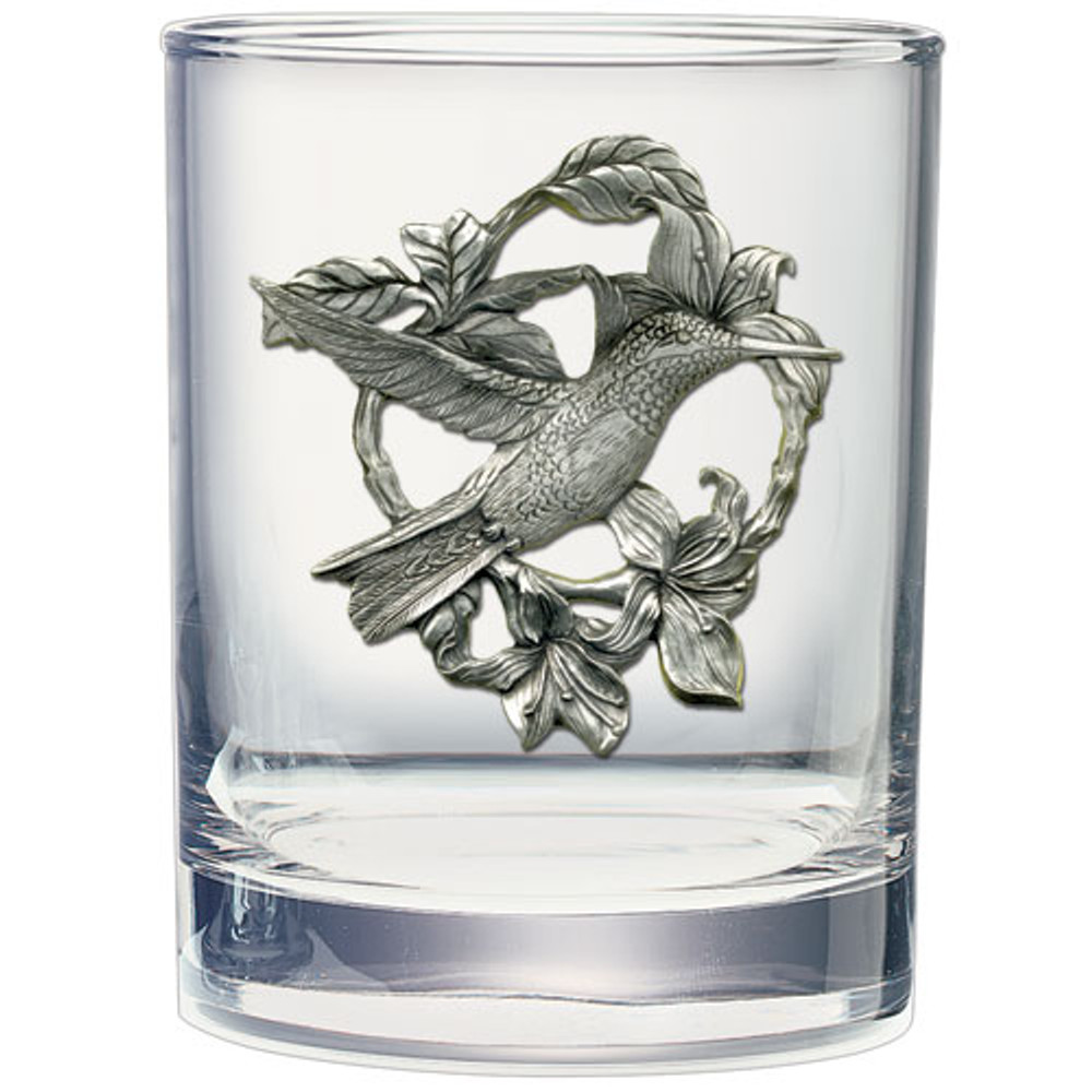 Hummingbird Flower Double Old Fashioned Glass Set of 2 | Heritage Pewter | HPIDOF4119 -2