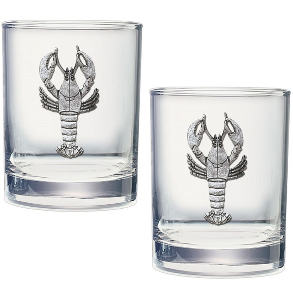 Lobster Double Old Fashioned Glass Set of 2   Heritage Pewter   HPIDOF4068