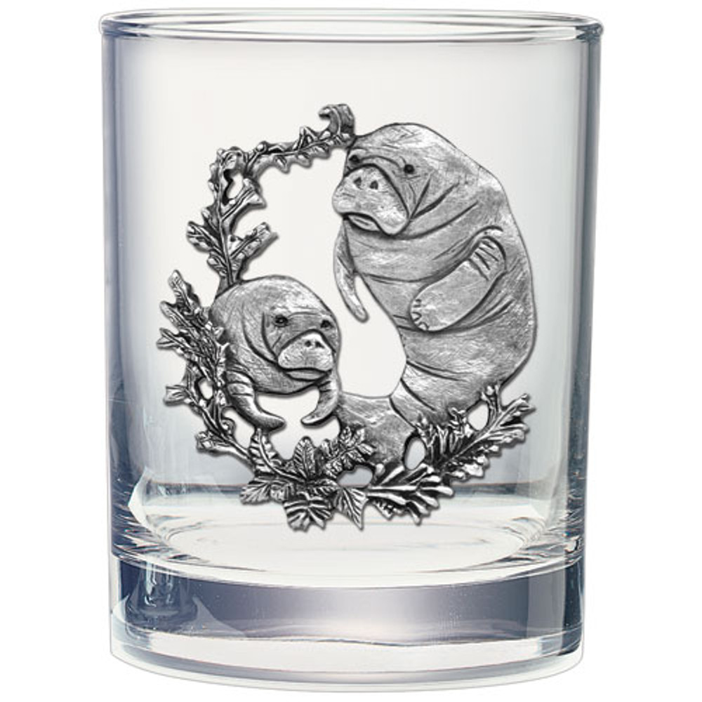 Manatee Double Old Fashioned Glass Set of 2 | Heritage Pewter | HPIDOF4110 -2