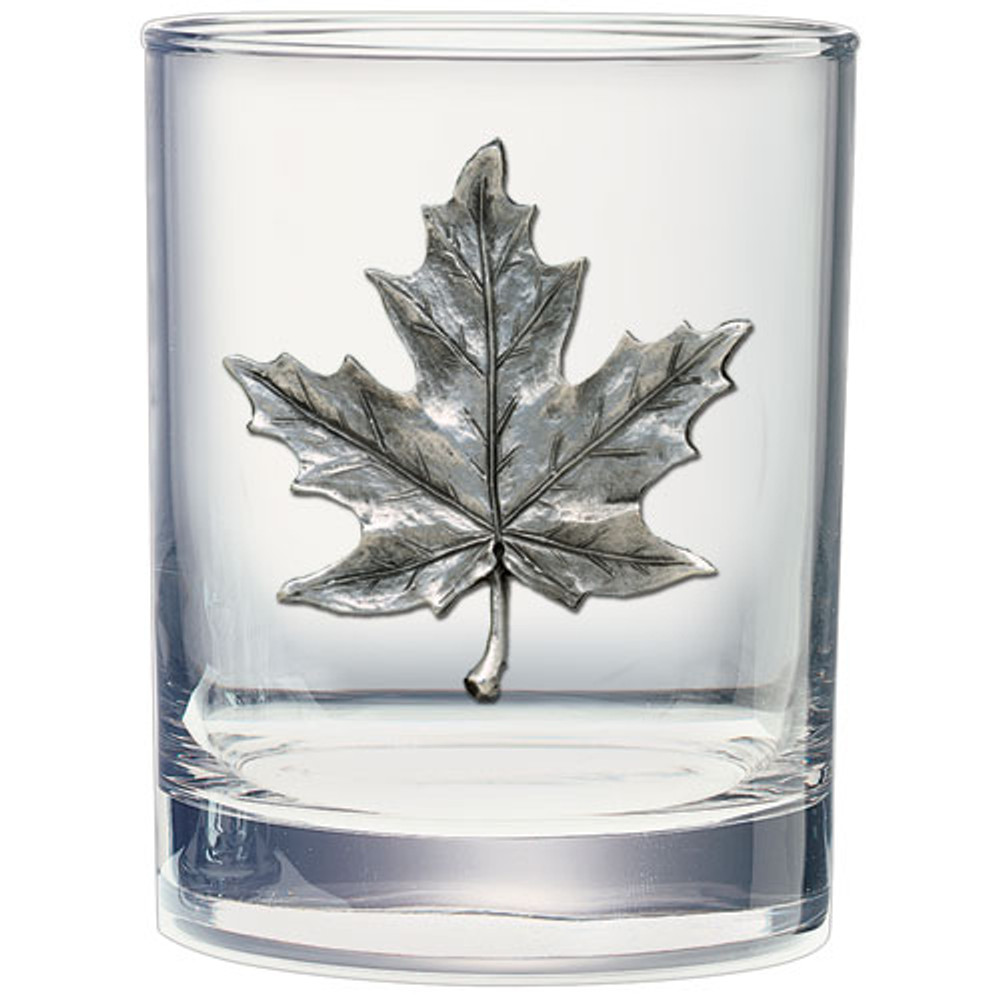 Maple Leaf Double Old Fashioned Glass Set of 2 | Heritage Pewter | HPIDOF4111 -2