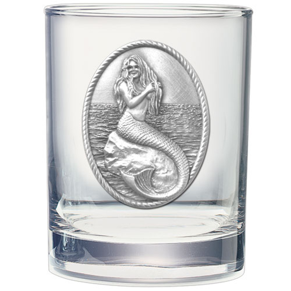 Mermaid Double Old Fashioned Glass Set of 2 | Heritage Pewter | HPIDOF4272 -2