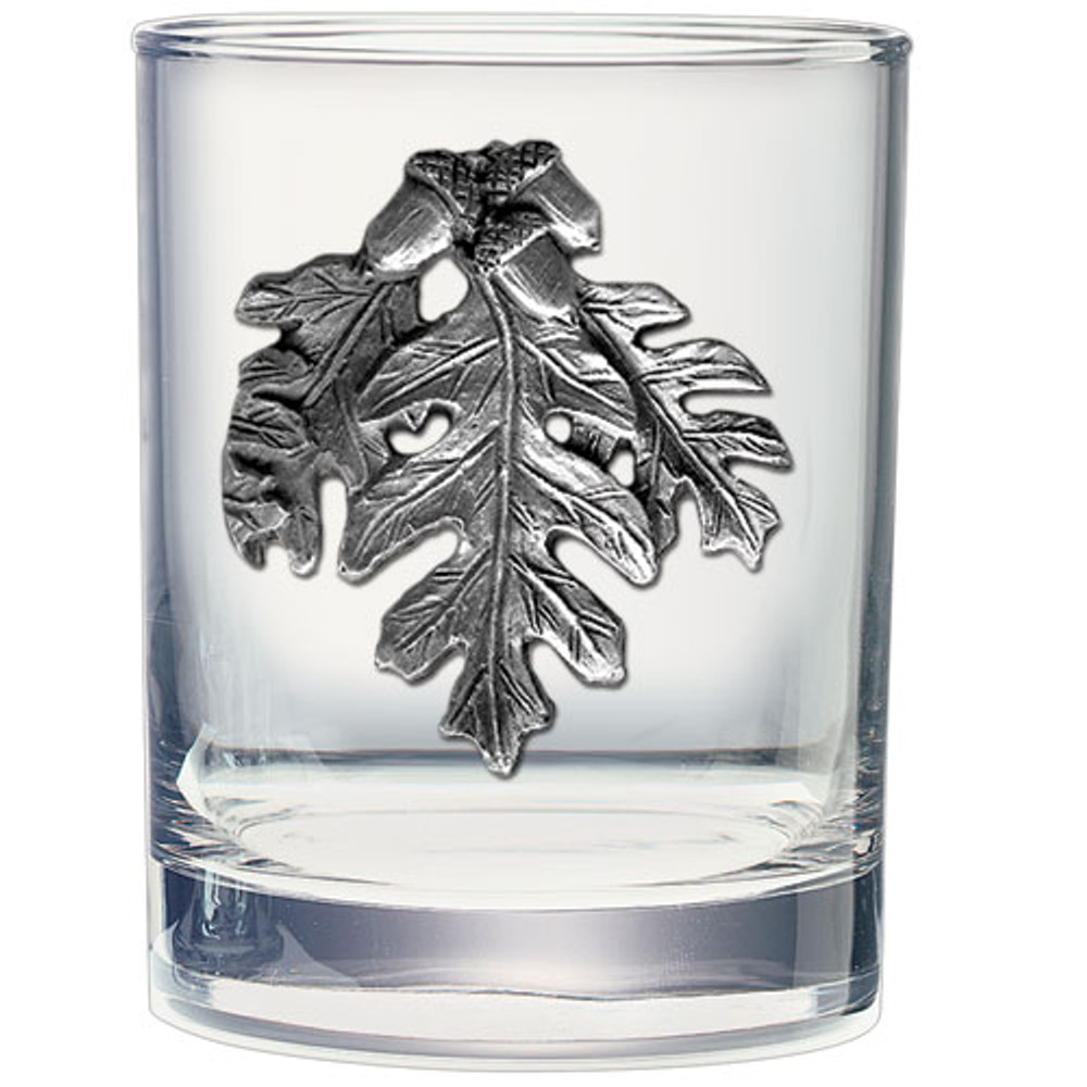 Oak Leaf Double Old Fashioned Glass Set of 2 | Heritage Pewter | HPIDOF4136 -2