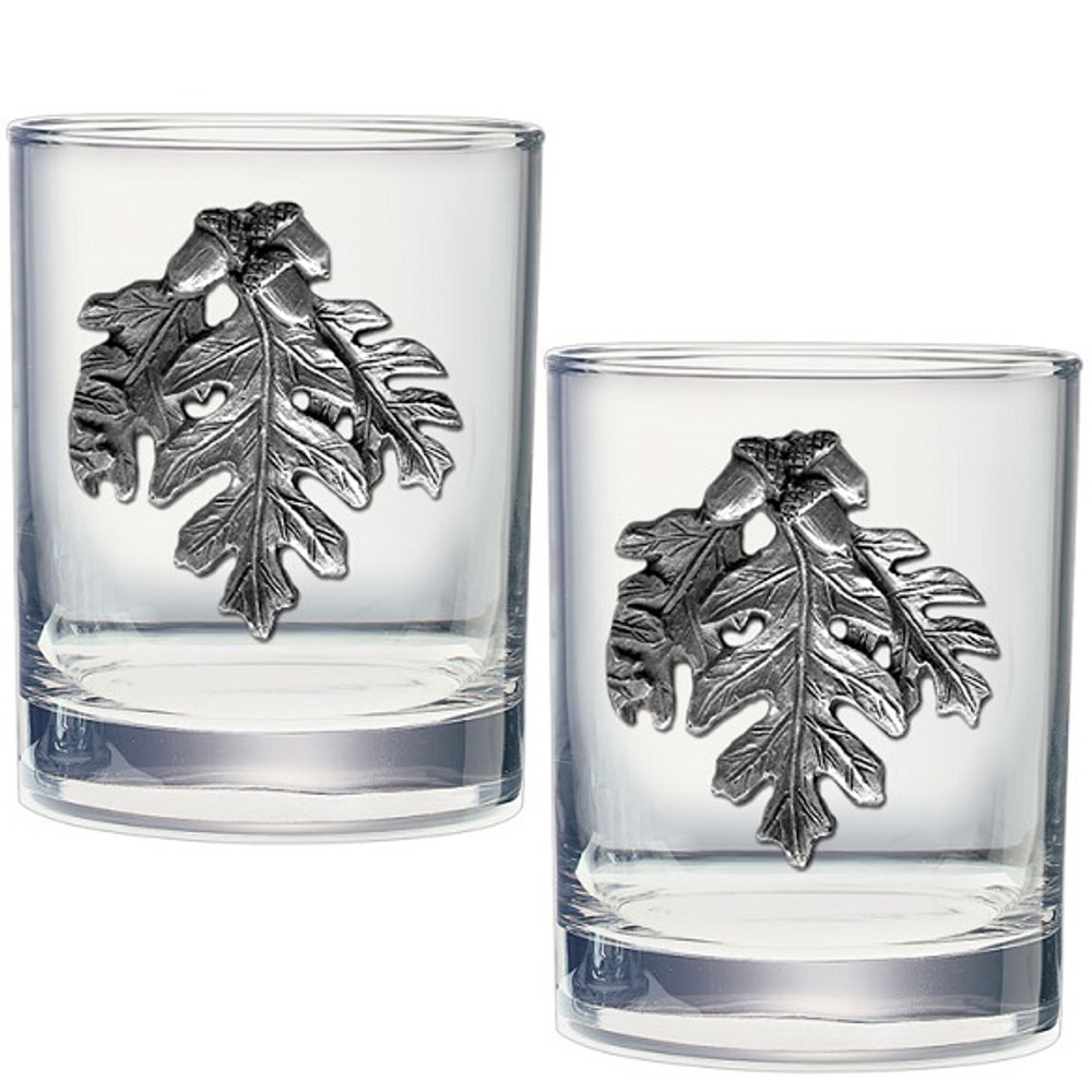Oak Leaf Double Old Fashioned Glass Set of 2 | Heritage Pewter | HPIDOF4136