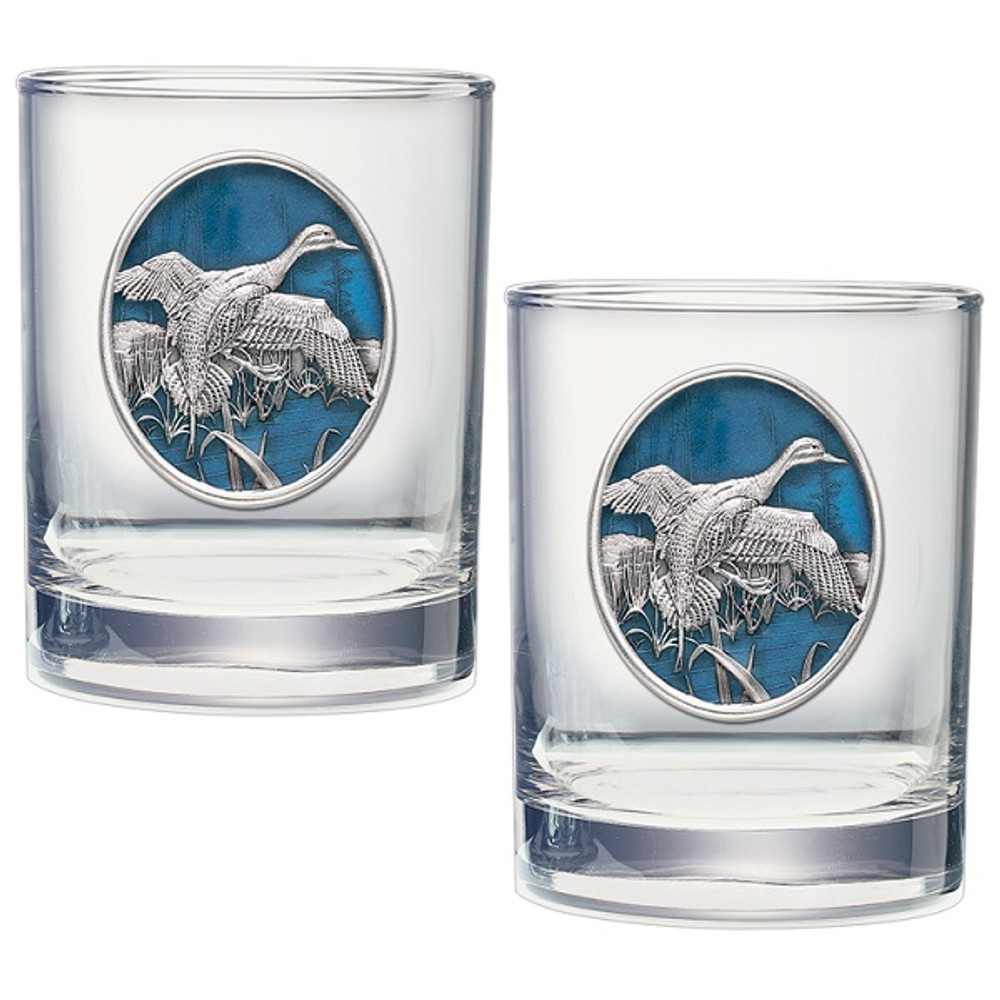 Pintail Duck Double Old Fashioned Glass Set of 2   Heritage Pewter   HPIDOF226EB