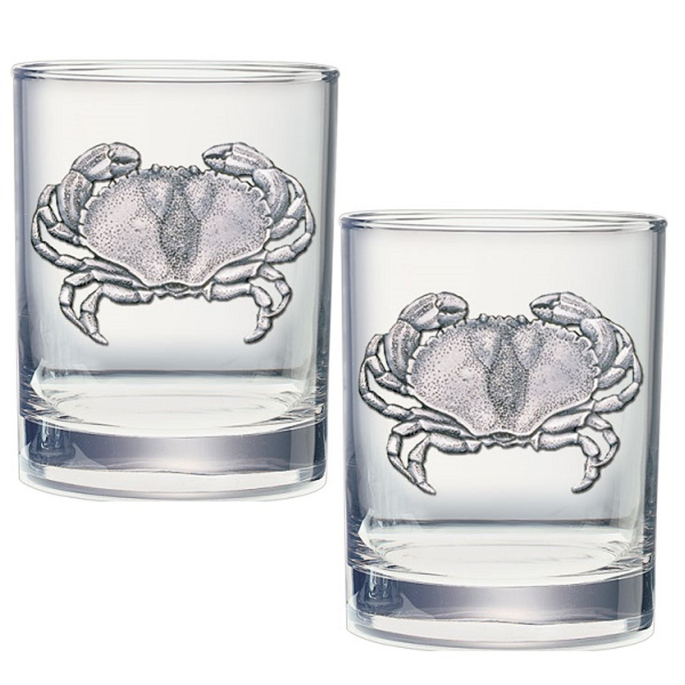 Sand Crab Double Old Fashioned Glass Set of 2   Heritage Pewter   HPIDOF3410