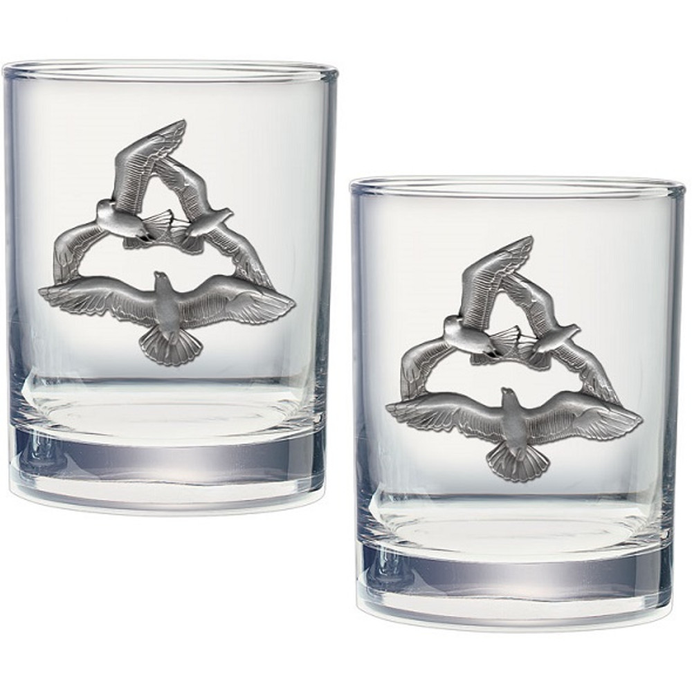 Seagull Double Old Fashioned Glass Set of 2 | Heritage Pewter | HPIDOF4140