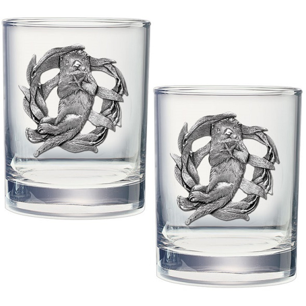 Sea Otter Double Old Fashioned Glass Set of 2   Heritage Pewter   HPIDOF4187