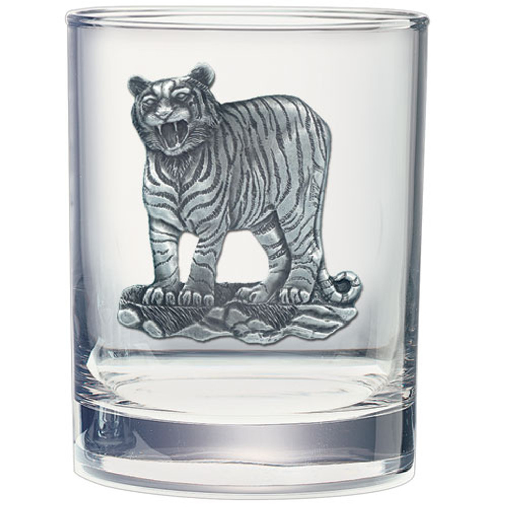 Tiger Double Old Fashioned Glass Set of 2 | Heritage Pewter | HPIDOF3986 -2