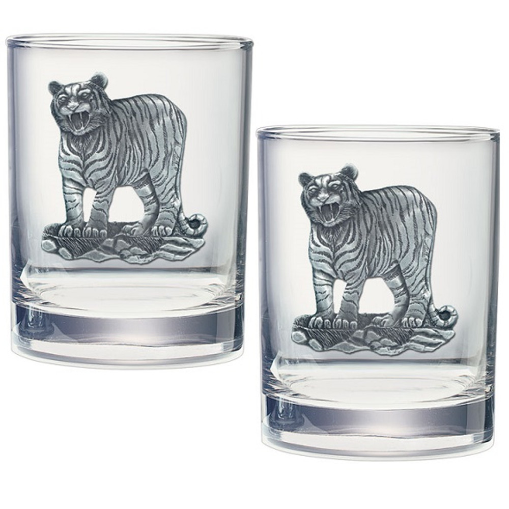 Tiger Double Old Fashioned Glass Set of 2 | Heritage Pewter | HPIDOF3986