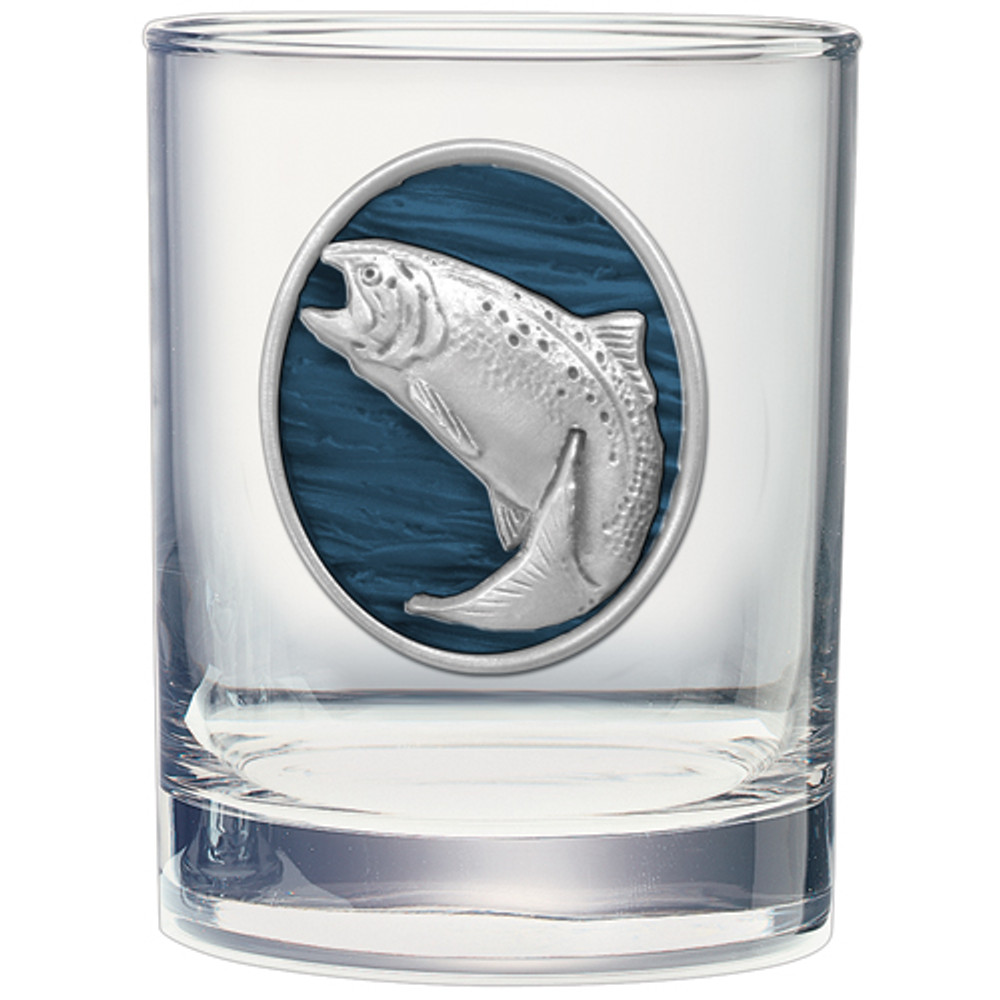 Trout Swimming Double Old Fashioned Glass Set of 2 | Heritage Pewter | HPIDOF242EB -2