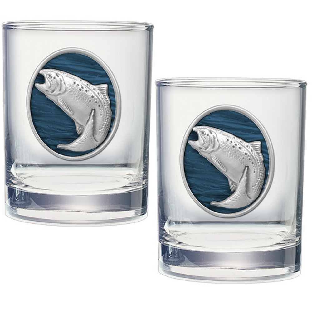Trout Swimming Double Old Fashioned Glass Set of 2 | Heritage Pewter | HPIDOF242EB