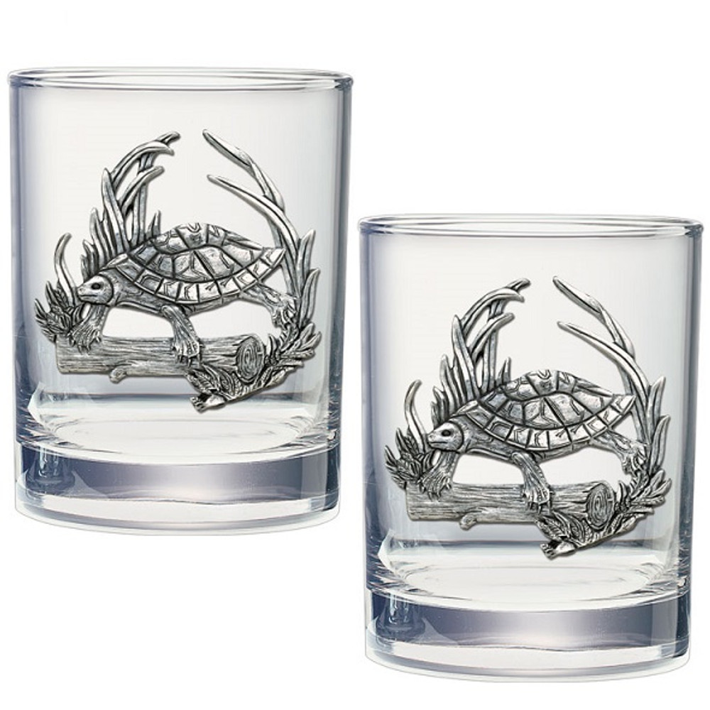 Turtle Double Old Fashioned Glass Set of 2 | Heritage Pewter | HPIDOF4115