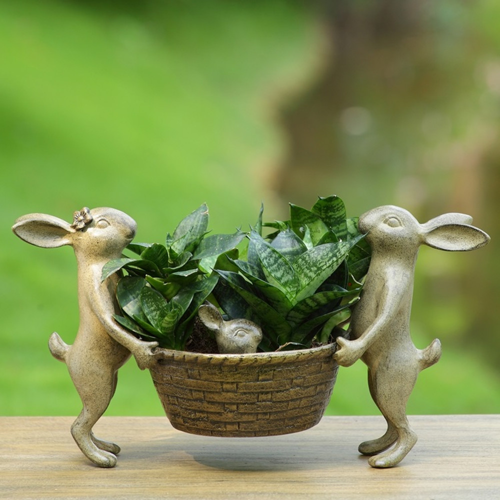 Rabbit Family Planter | 34430 | SPI Home