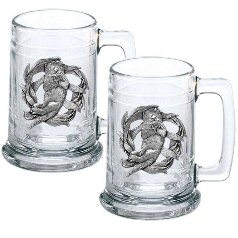 Sea Otter Beer Stein Set of 2   Heritage Pewter   HPIST4187
