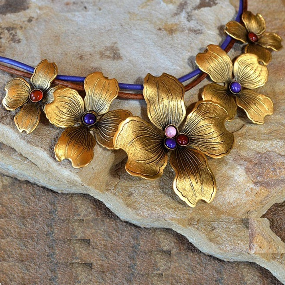Dogwood Graduated Flower Brass Necklace | Elaine Coyne Jewelry | NSG840N