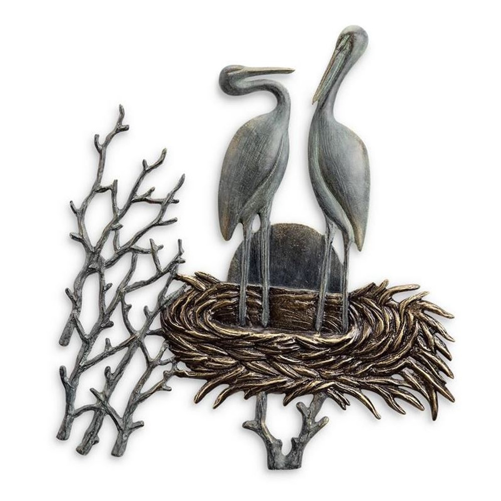 Crane Pair in Nest Wall Plaque | 34043 | SPI Home