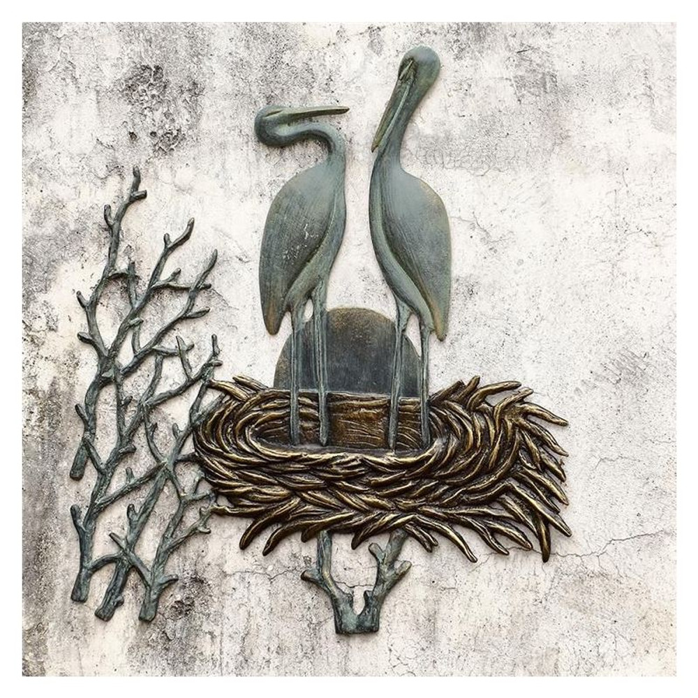 Crane Pair in Nest Wall Plaque | 34043 | SPI Home -2