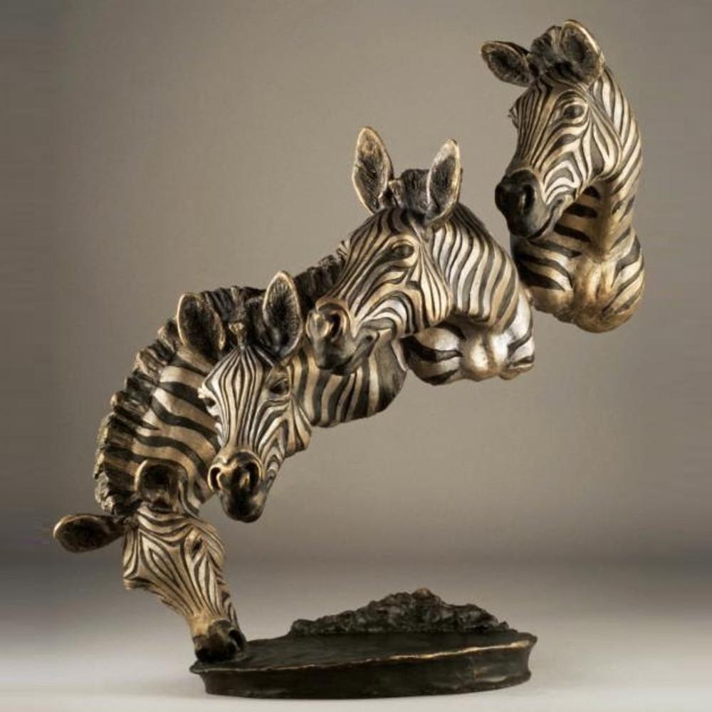 """Zebra Bronze Sculpture """"Bank of the Mara""""   Mark Hopkins   12086"""