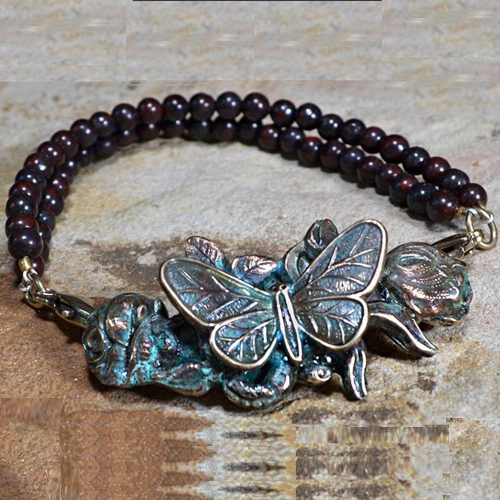 Butterfly on Roses Verdigris Brass Bracelet   Elaine Coyne Jewelry   ZGP208rb-8