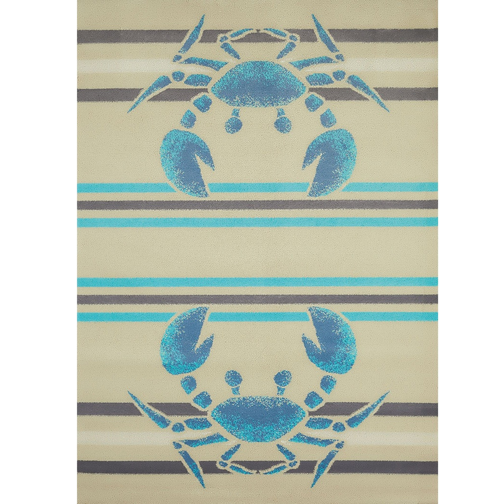 "Crab Area Rug ""Crabbee Blue"" 