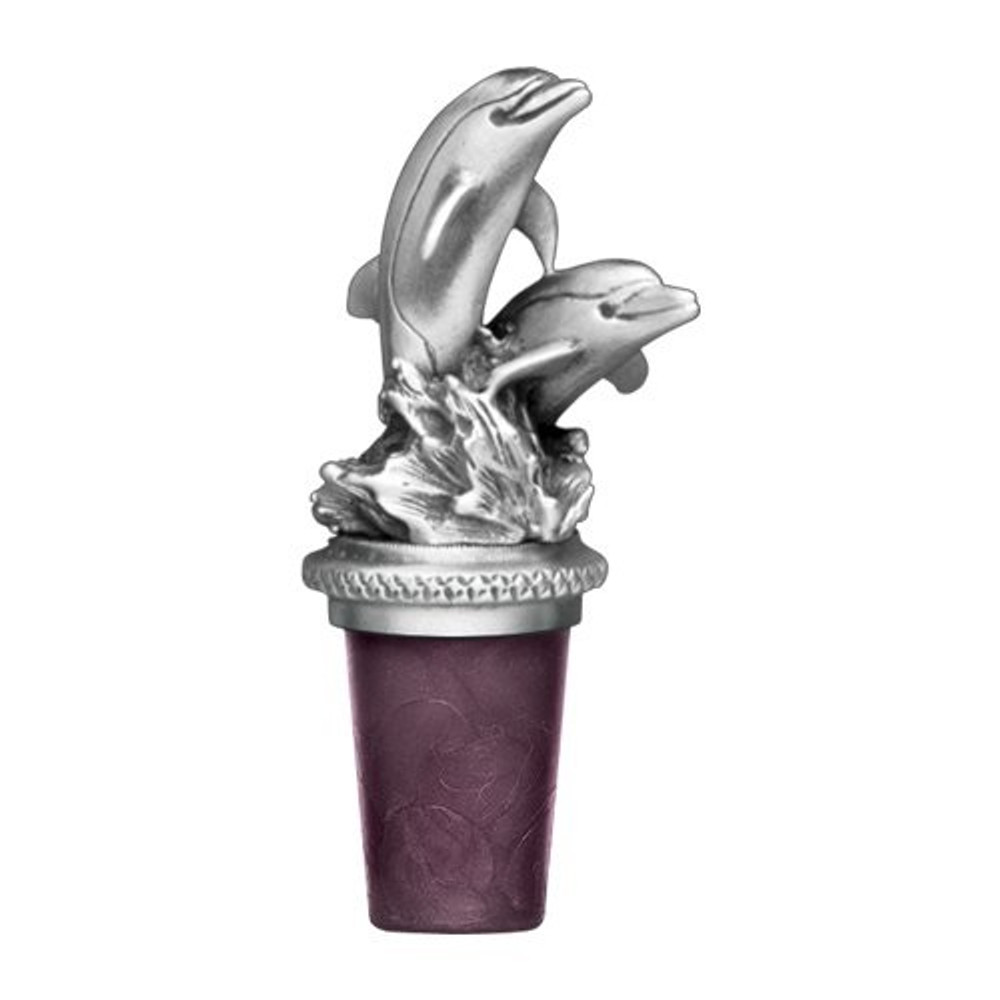 Dolphin Bottle Stopper   Heritage Pewter   BS8517