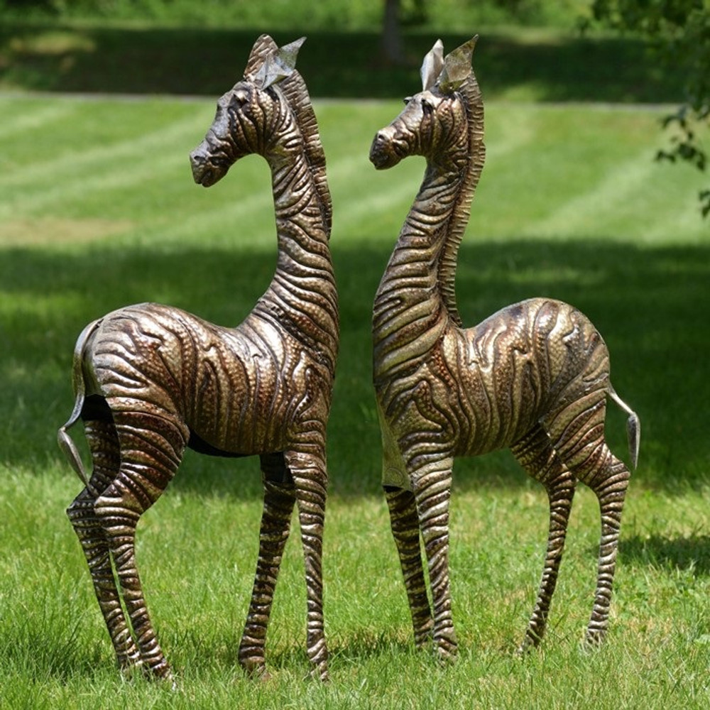 Zebra Metal Outdoor Statues Set of 2 | Zaer LTD, Intl. | ZR140080