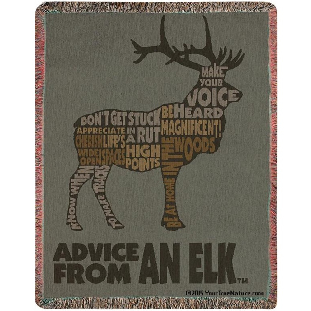 Elk Advice Tapestry Throw Blanket | Manual Woodworkers | ATAEKW