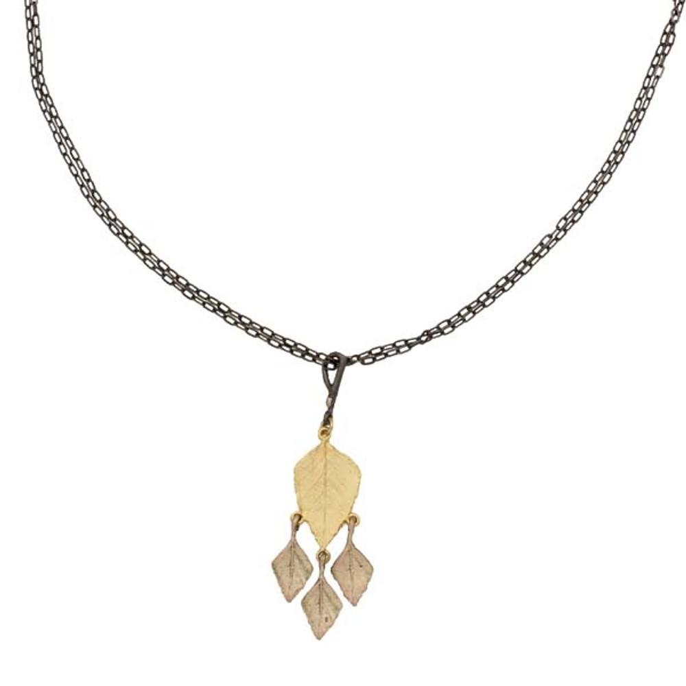 Autumn Birch Four Leaf Pendant Necklace   Michael Michaud Jewelry   9057GMG