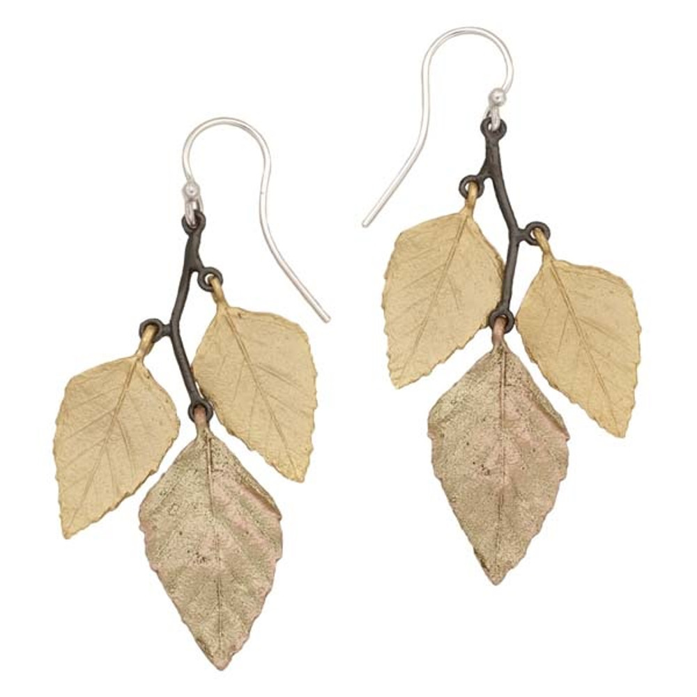 Autumn Birch Leaf Wire Earrings | Michael Michaud Jewelry | 3167GMG