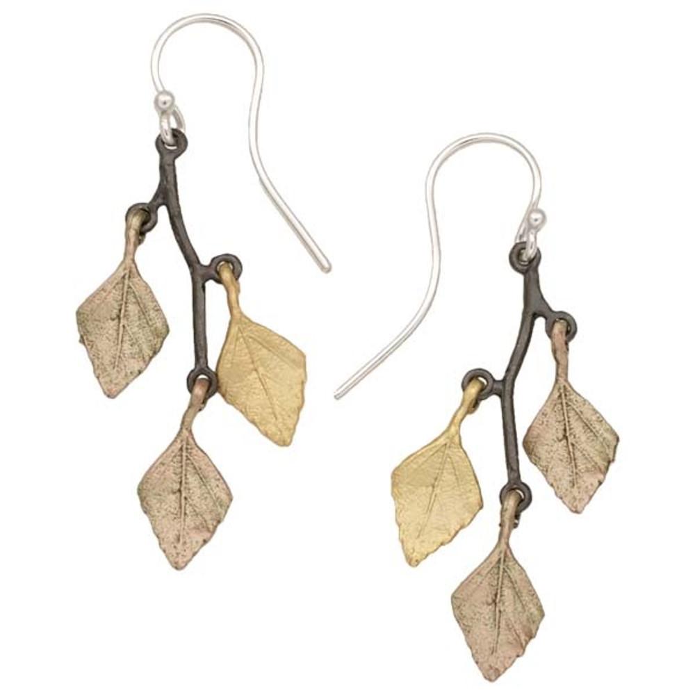 Autumn Birch 3 Leaf Wire Earrings | Michael Michaud Jewelry | 3168GMG