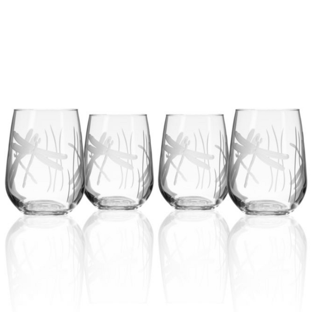 Dragonfly Stemless Wine Glass Set of 4 | Rolf Glass | 206332