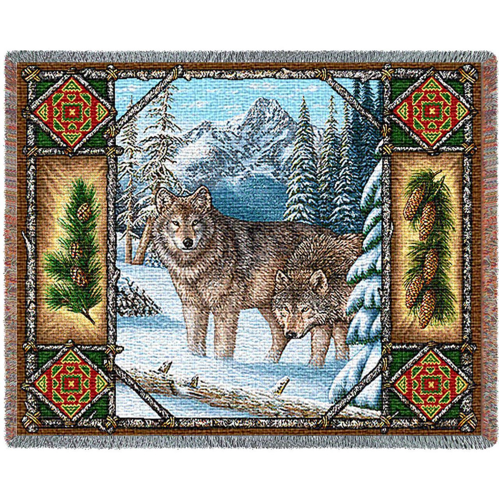Wolf Lodge Tapestry Throw Blanket | Pure Country | 1099T