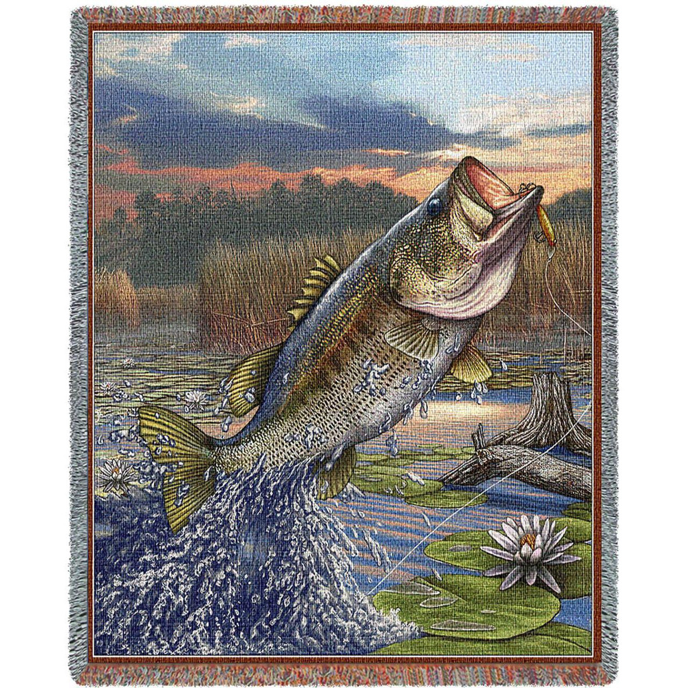 """Largemouth Bass Tapestry Throw Blanket """" First Strike"""" 