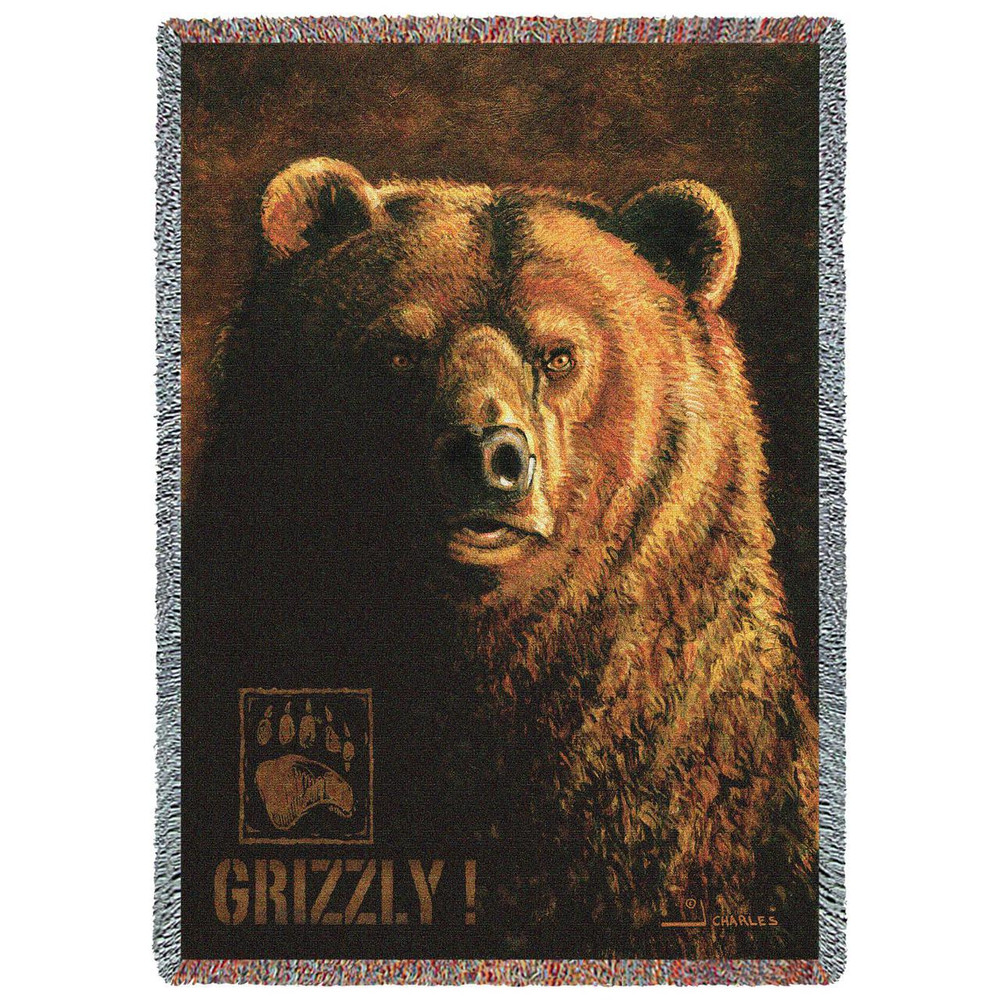 """Grizzly Bear Tapestry Throw Blanket """"Shadow Beast"""" 