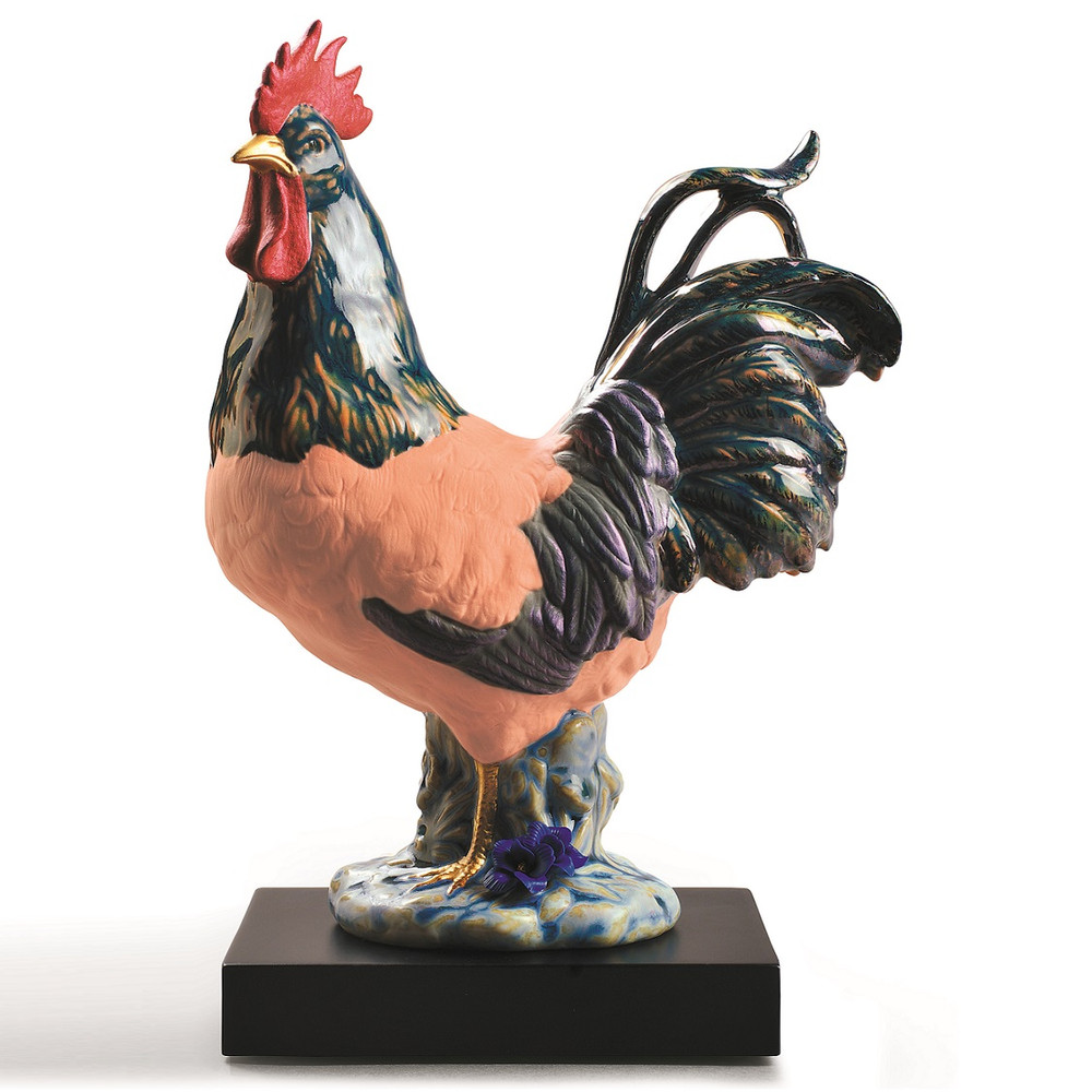 Colored Rooster Porcelain Figurine   Lladro   LLA01009233