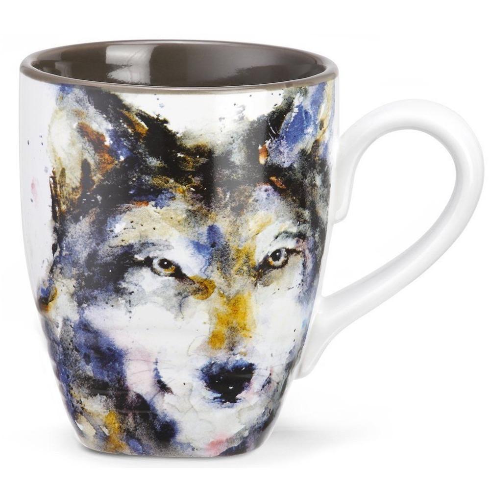 Wolf Stoneware Mug   Big Sky Carvers   Dean Crouser