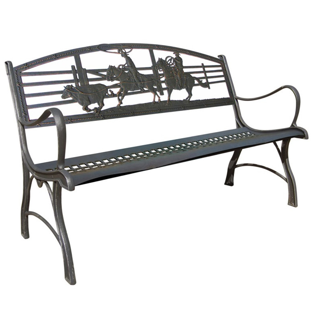 Cowboy Roping Cast Iron Garden Bench | Painted Sky | PB-RP-100BR