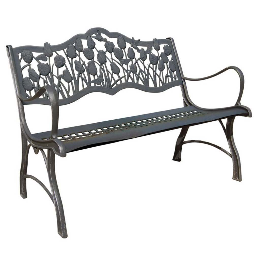 Tulips Cast Iron Loveseat Garden Bench | Painted Sky | PBLS-TLP