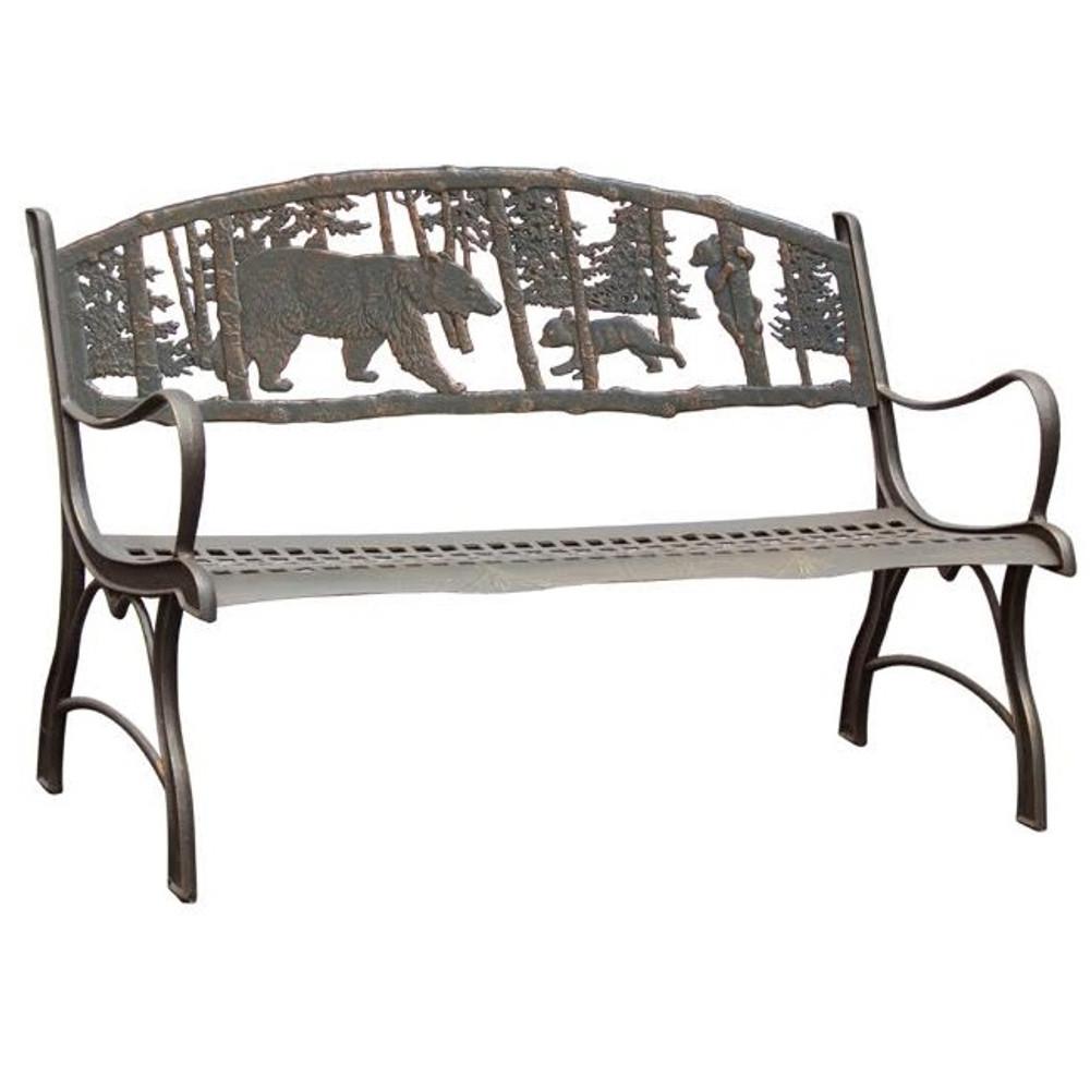 Bear Cast Iron Garden Bench | Painted Sky | PB-BR-100BR