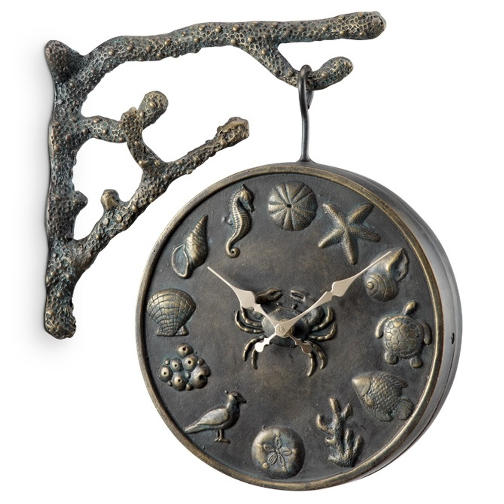 "Garden Clock and Thermometer ""Undersea Life"" 