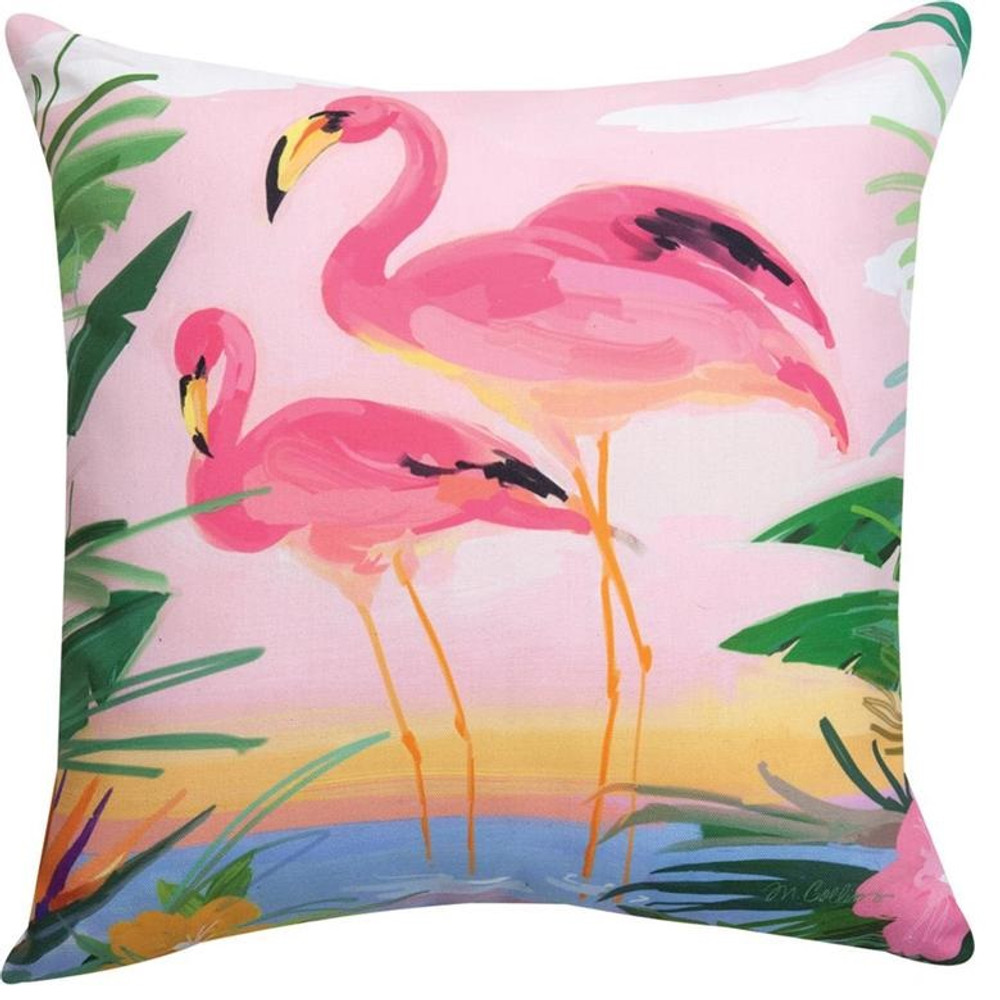 Flamingo Garden Indoor/Outdoor Pillow | Manual Woodworkers | SLFGDN