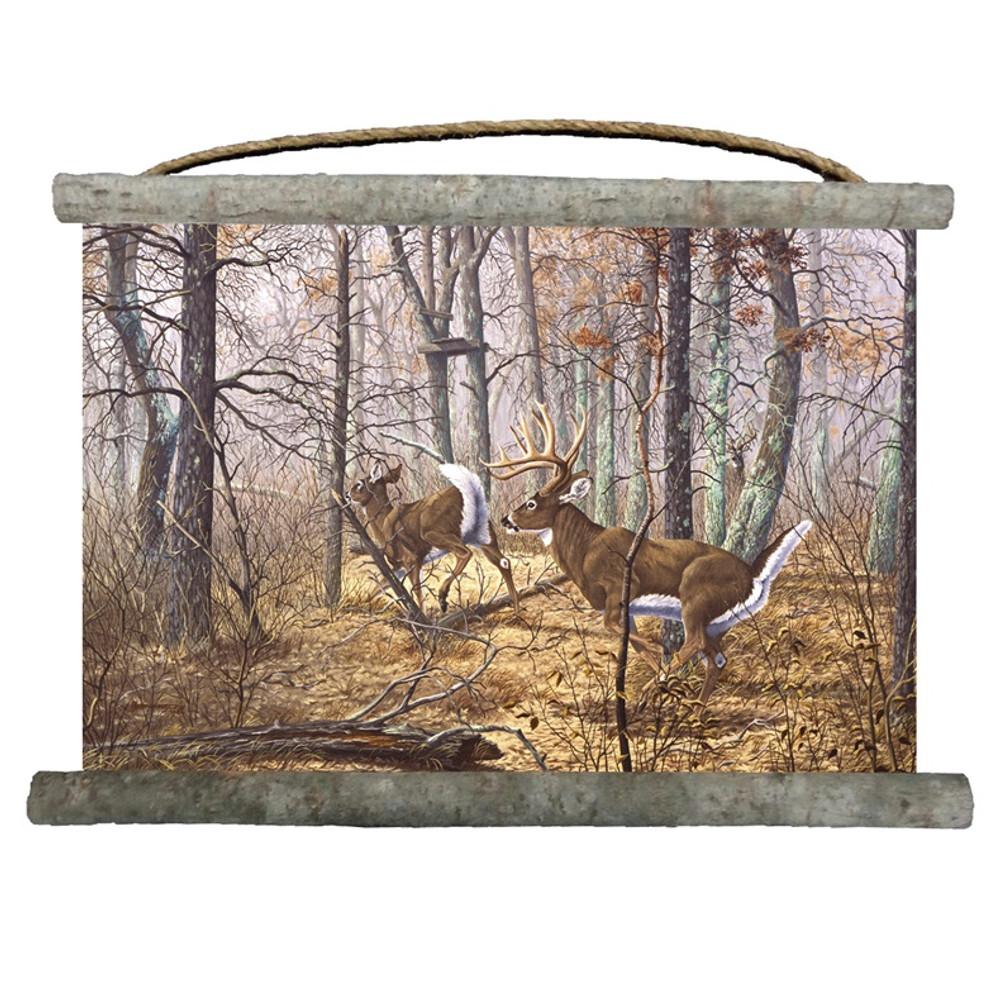 "Deer Canvas Wall Hanging ""Autumn Pursuit""   Wood Graphixs   WCAP2518"