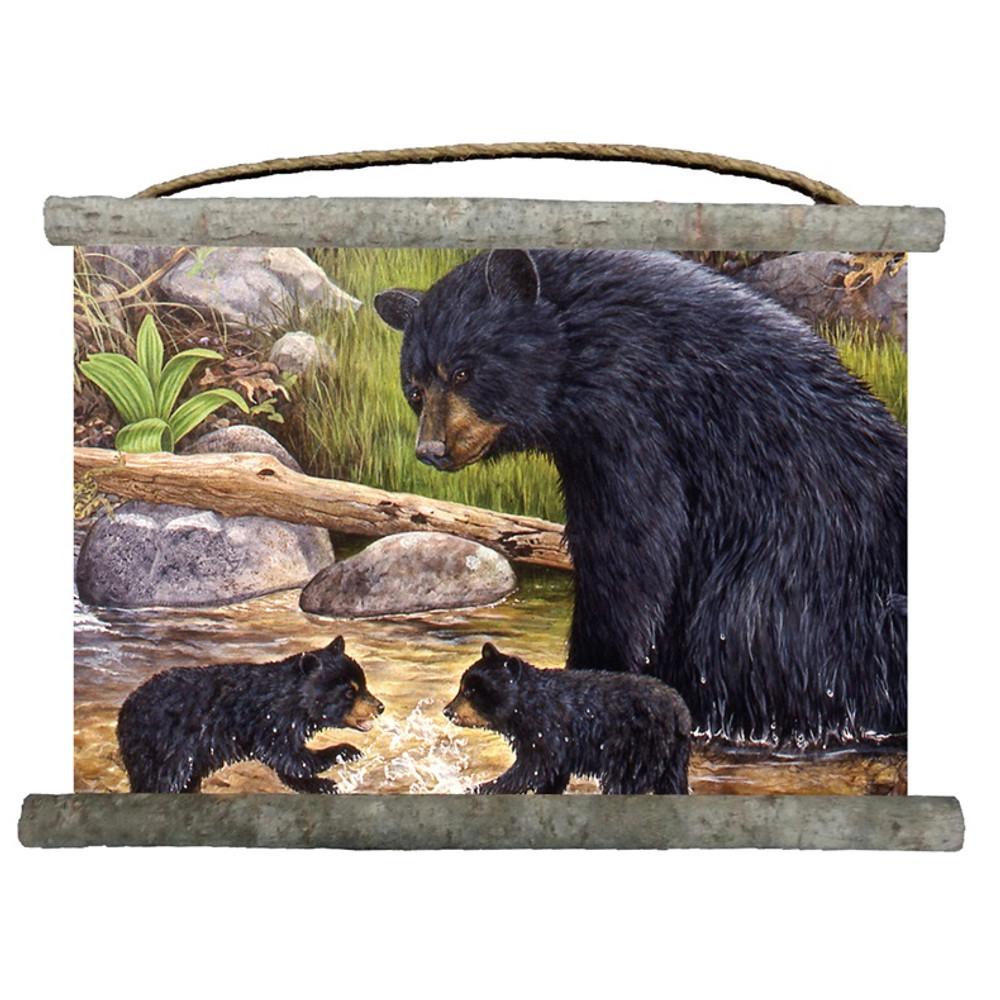 "Bear and Cubs Canvas Wall Hanging ""Bear Creek Gang"" | Wood Graphixs | WCBCG2518"