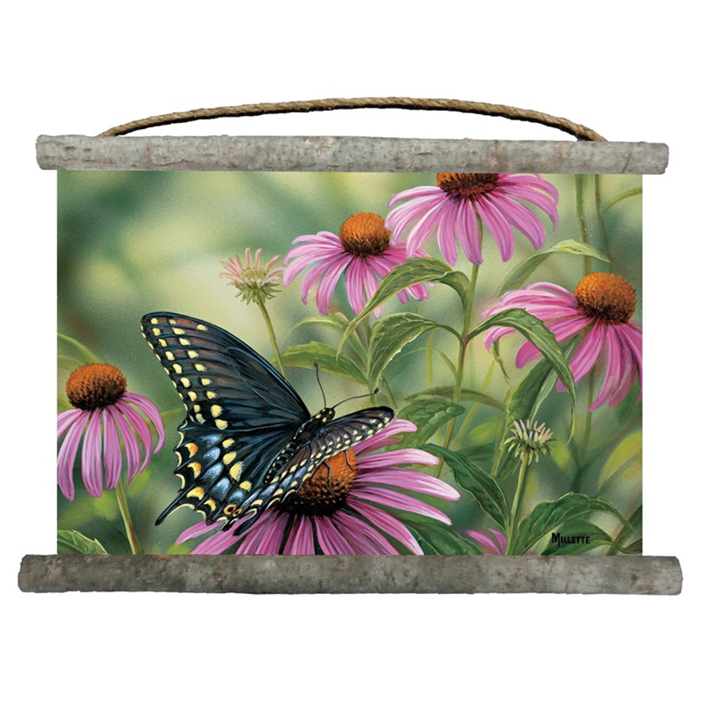 Black Swallowtail Butterfly Canvas Wall Hanging   Wood Graphixs   WGIWCAMM2518