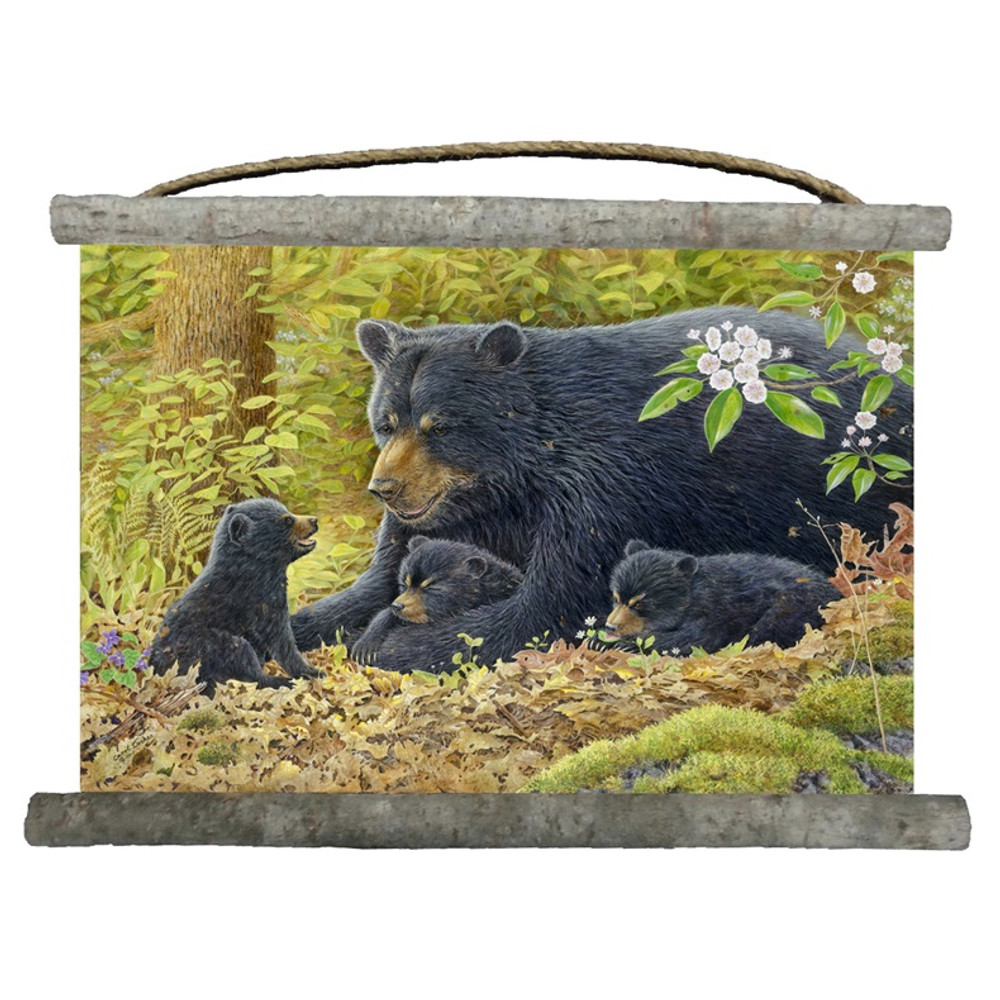 "Bear and Cubs Canvas Wall Hanging ""Crying Out Loud"" 