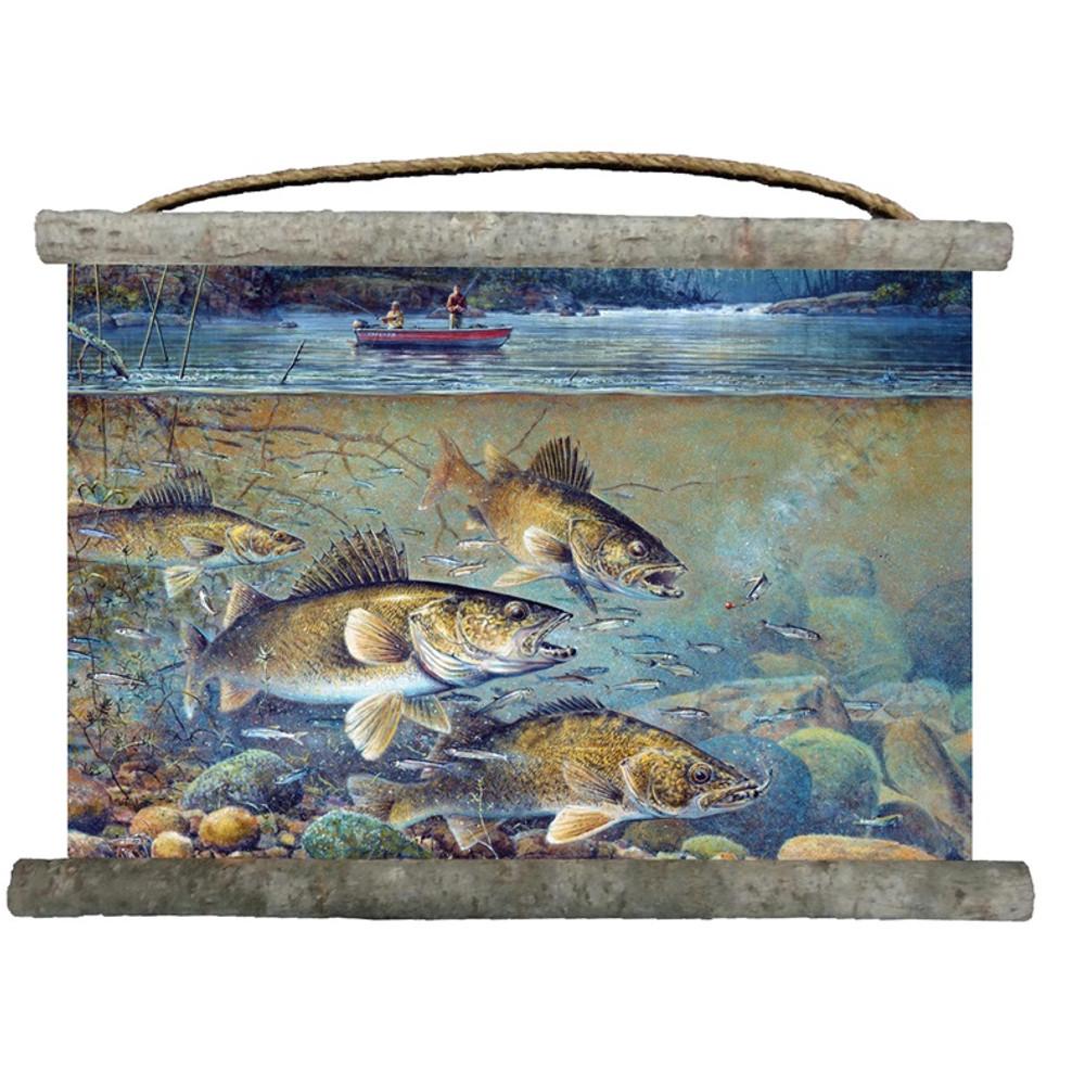 "Fish Canvas Wall Hanging ""Fishermans Walleye"" | Wood Graphixs | WCFW2518"