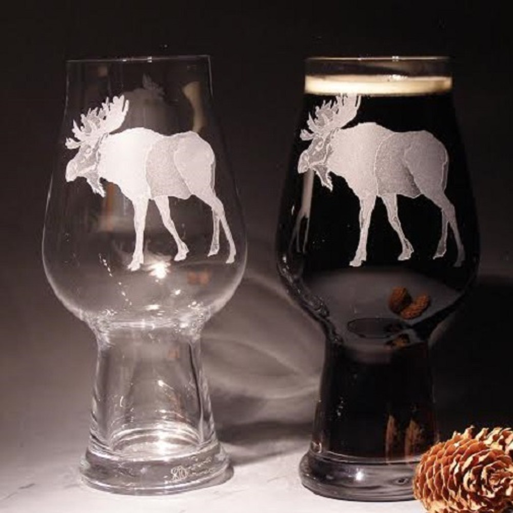 Moose Craft Beer Glass Set of 2 | NA-02646 | Evergreen Crystal