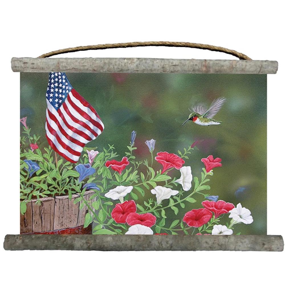 "Hummingbird Canvas Wall Hanging ""Garden Glory"" | Wood Graphixs | WCGGH2518"