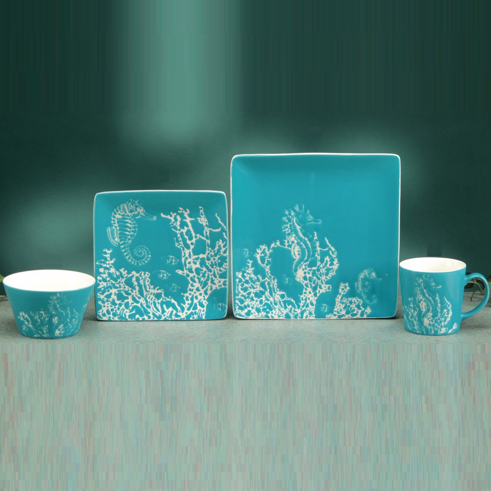 Seahorse Dinnerware 4 Piece Place Setting | Unison Gifts | TCDseahorse